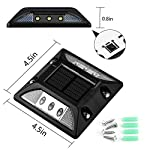 Solar Deck Lights,UNIFUN New Design Driveway Dock LED Lights,Solar Powered Waterproof Road Markers for Step Sidewalk Stair Garden Ground Pathway Yard (6PACK) Dimension Size and Kit Mount Contents
