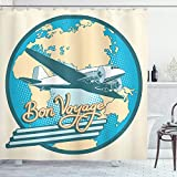 Ambesonne Airplane Shower Curtain, Bon Voyage Pop Art Retro Travel Tourism Map of Eurasia Africa Australia, Cloth Fabric Bathroom Decor Set with Hooks, 70' Long, White Cream Blue