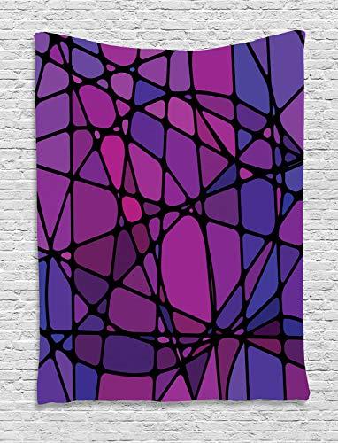 ABAKUHAUS Abstrakt Wandteppich, Amorphe Formen Fliese, Wohnzimmer Schlafzimmer Heim Seidiges Satin Wandteppich, 150 x 200 cm, Mehrfarbig