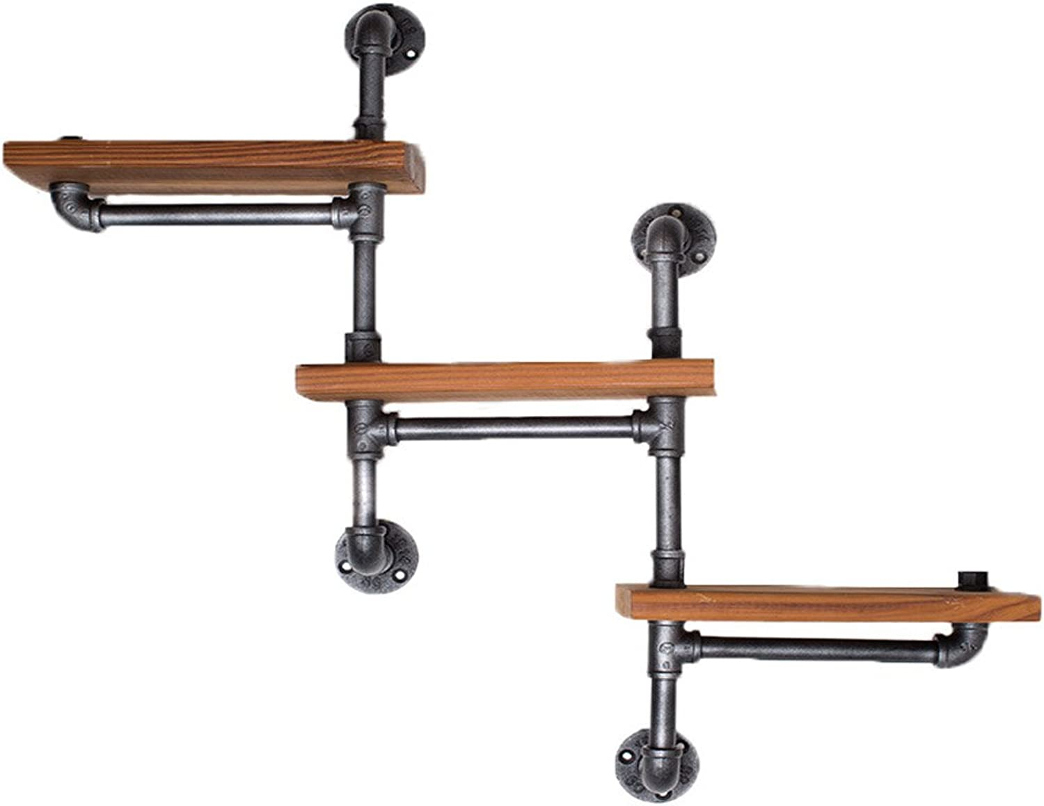 Find Joy Industrial Pipe Racks Wrought Iron Wall Pipe Retro Backdrop Wood Industry Water Separator Wall Shelves