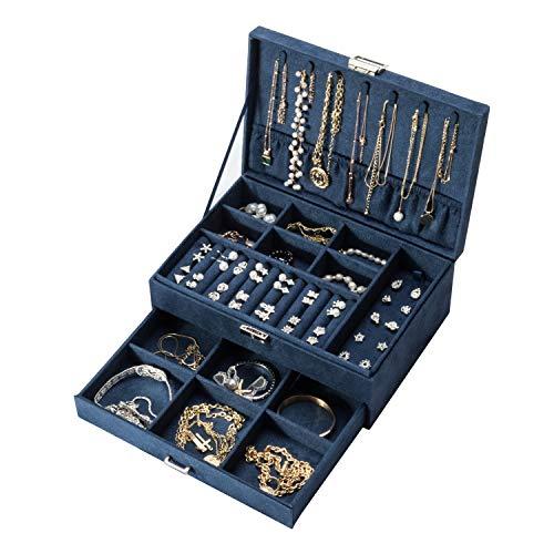 Amasava Schmuckkasten, Schmuckschatulle mit 1 Schubladen, abschließbarer Schmuck-Organizer,27 x 19x 10 cm,blauem