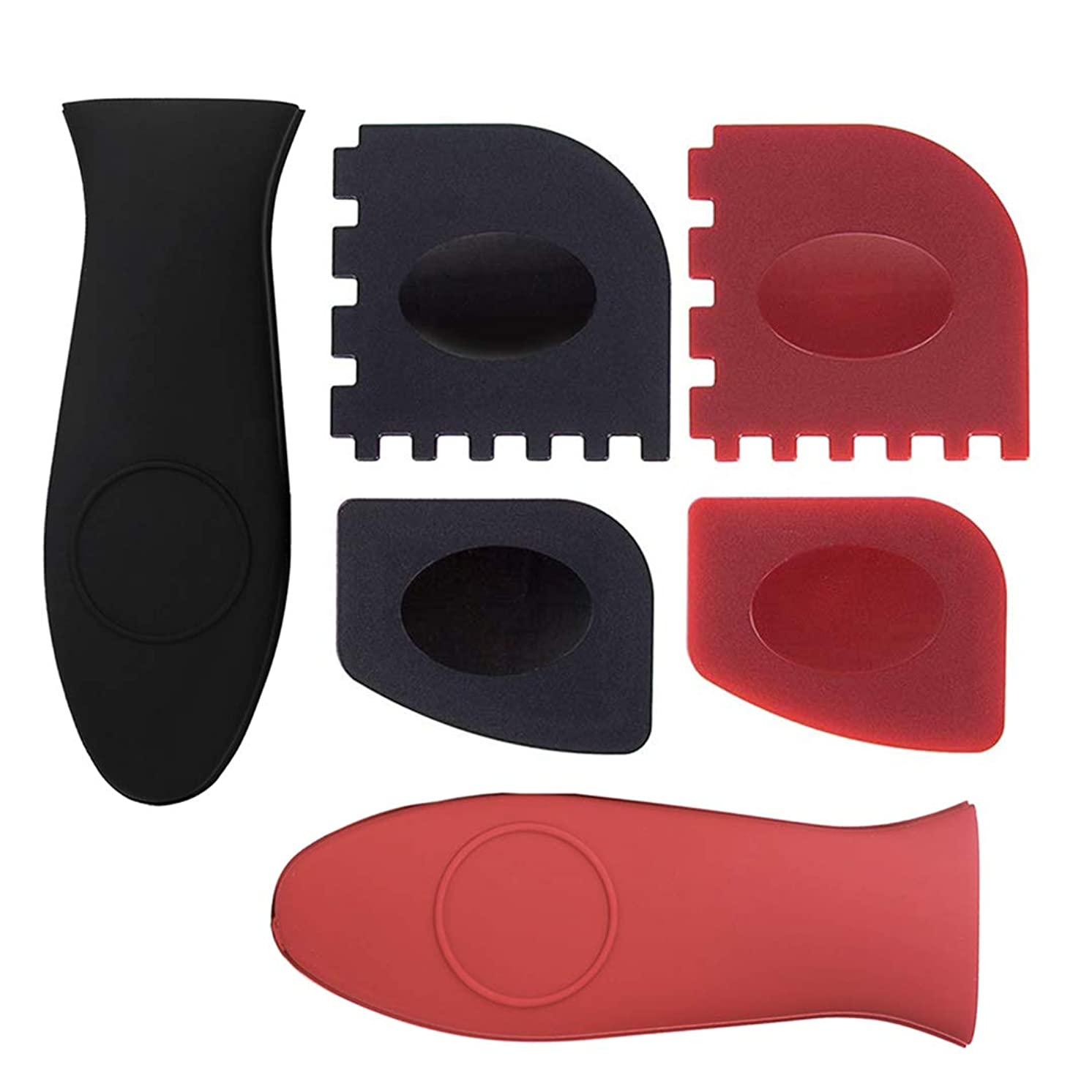 Juland 6PCS Durable Grill Pan Scrapers with Silicone Hot Handle Holder Silicone Plastic Set Tool for Cast Iron Skillets, Griddles Frying Pans - Black & Red