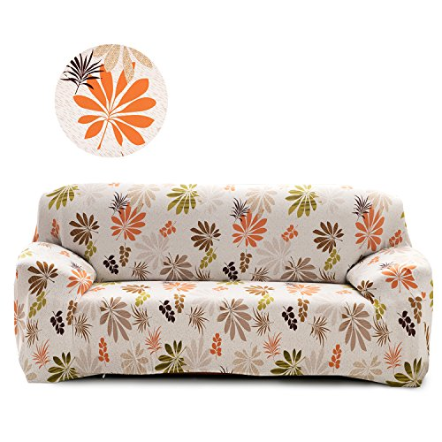 Cornasee Elastischer Sofabezug 4 Sitzer, Sofa-Überwürfe Sofahusse Couchhusse Spannbezug für Sofa mit Armlehne,Blumendruck,D