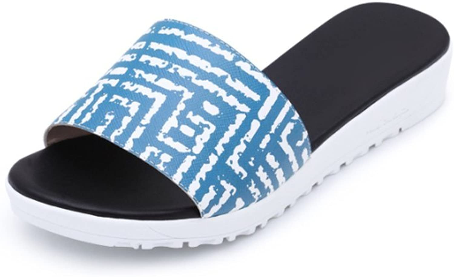 Weiwei Flat Sandals in The Summer,Print Toe Lined Slippers