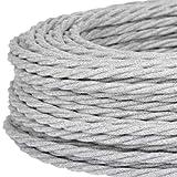 Cable eléctrico trenzado/trenzado revestido de tela. Color gris. Sección 2 x 0,75 (5 metros)