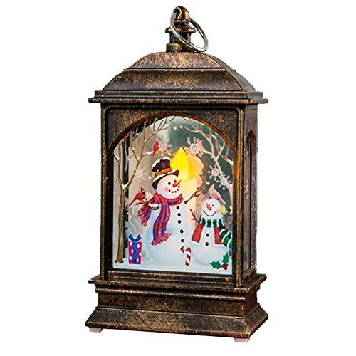 Quyi Beleuchtete Weihnachts-Schneekugel-Laterne, Weihnachtsdekoration, leuchtendes Nachtlicht, Bronze, Schneemann