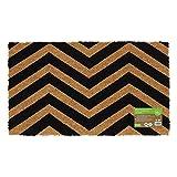 JVL Eco-Friendly Black Pattern Latex Backed Coir Entrance Door Mat, Zig Zag Design, Brown, ONE SIZE