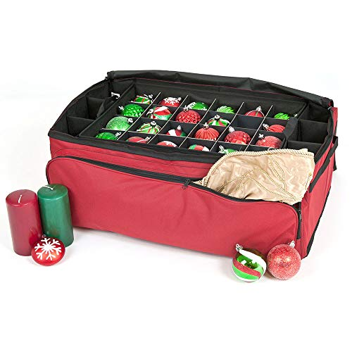 Red Christmas Ornament Storage Box with Dividers - Holds 72 Ornaments up to 3 Inches in Diameter  Acid-Free Removable Trays with Separators  Extra Front and Side Pockets for Additional Storage