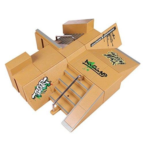 Juego de 8 piezas de rampa para monopatín Tech Deck Fingerboard Mini Finger Skateboard, Mini Finger Skateboard Diapasones Ultimate Parks