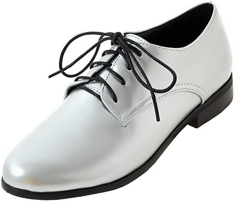AmoonyFashion Women's Patent Leather Lace-Up Solid Pumps-shoes, BUSDT004492
