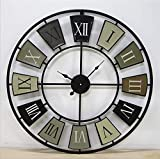 Wall Clock Decor Large, Wall Clock - Cafe Tour Wooden Kitchen with Large Dial Made of Retro in Trendy Shabby Chic Design Quartz Movement Mechanism ?: 70 cm Stunning Metal Roman Numeral