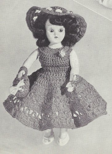 Vintage Crochet PATTERN to make - 8 inch Doll Clothes Dress Wide Brim Hat Bag. NOT a finished item. This is a pattern and/or instructions to make the item only.