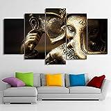 FOCAILAI Póster de Lienzo con Impresiones en HD, Cuadro de Arte de Pared Modular, 5 Piezas, Elefante hindú, Dios, Ganesha, Pintura, Sala de Estar, decoración del hogar