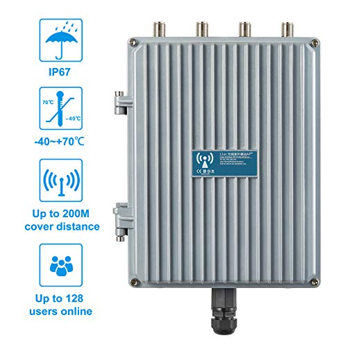 E-link 802.11AC 1200Mbps High Power Outdoor IP67 WiFi Base Station Wireless Access Point Industrial Grade Waterproof 2.4G /5G Dual Band Wireless AP with 802.3at POE Input(Antenna Not Included)