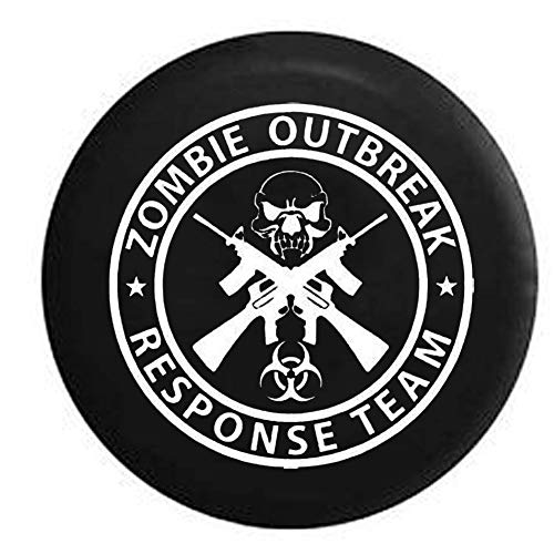 Caps Supply Spare Tire Cover Zombie Outbreak Response Team Skull Guns Size 35 inch