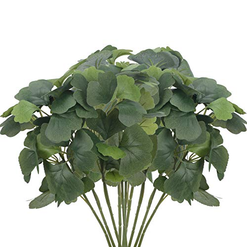 XHSTORE 10PCS Hojas Artificiales Ginkgo biloba de Plástico Planta Artificial Verde Interior y...