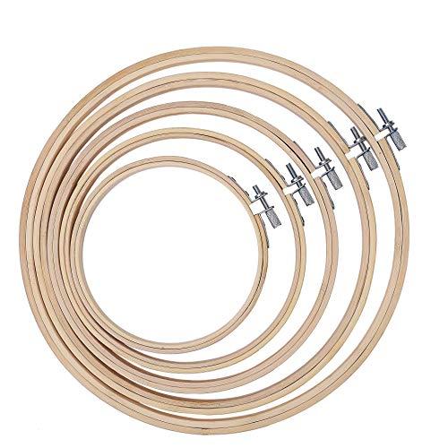 Embroidery Hoops, Bordado Herramienta de Punto Aros de Bordado de Bambú Herramientas de Bordado para Bricolaje Circulares Bambú Ajustables - 5 tamaños
