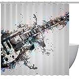 HEOEH Duschvorhang, Gitarren-Instrumenten-Motiv, wasserdicht, Polyester, Duschvorhang für Badewanne, Duschen, 168 x 183 cm