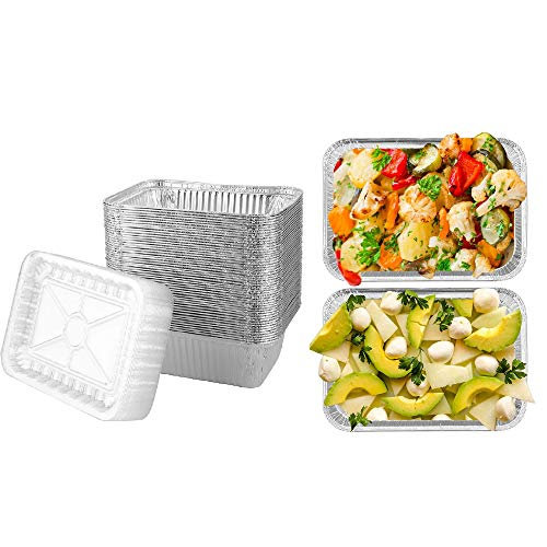 Brandon super Heavy Duty Disposable Aluminum Oblong Foil Pans, Plastic Cover, Recyclable Tin Food Storage Tray, Safe Disposable Aluminum Material, Suitable for Cooking, 50PCS Thickened 8'x 5.5'