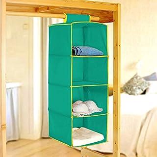 PINDIA Fancy & Foldable 4 Layer Aqua with Yellow Border Hanging Storage Wardrobe ALMIRAH