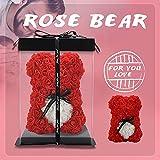 Rosenbär, Rose Teddy Rose - Rosenbär für Immer künstliche Blumen Frauen, Geschenke für Freundin, Geschenke für sie, Geburtstagsgeschenk (red)