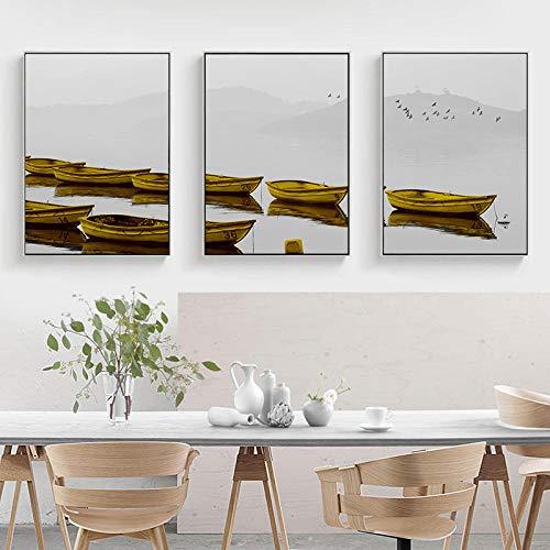 QZROOM Landschaft Nordic Canvas Malerei Home Decor Wandkunst Poster Wohnzimmer Print Goldboot Lake Mountain Nebel Natur Landschaft Bild / 30x45cmx3 (kein Rahmen)
