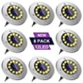 Solar Ground Lights, Upgraded Extra Large 12 LED Bulbs Solar Disk Lights, Waterproof In-Ground Solar Lights Outdoor for Patio Pathway Garden Lawn Yard Driveway Deck Walkway (8 Pack Warm White)