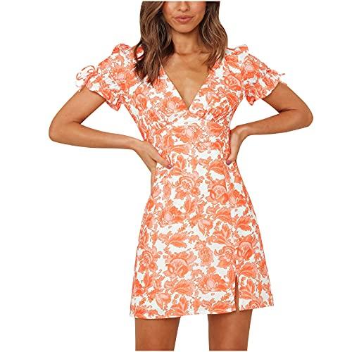 pamkyaemi Bodycon Kleider Damen Abendkleid Knielang Sexy V-Ausschnitt Kurzarm Sommer Strand Kleider Kurz Mini Kleid Boho Geblümt Kleider