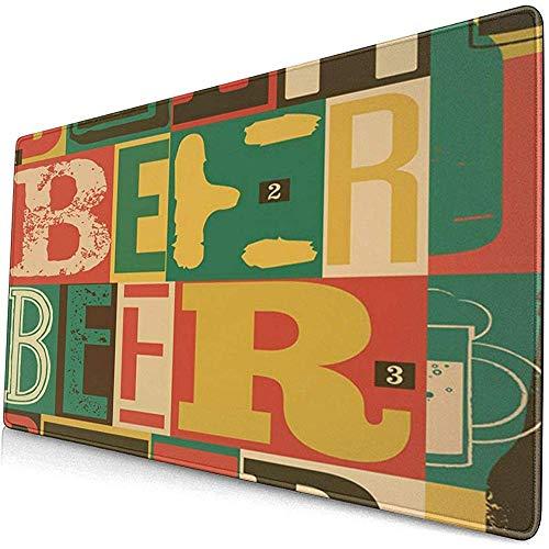 Gaming Extended Mouse Pads mit Rutschfester Gummibasis Bunte alte typografische Vintage Bier Retro Alkohol Trinken Abstract 30X80 cm