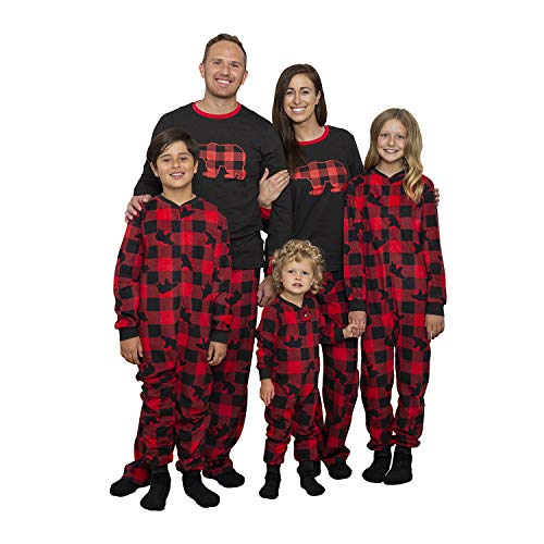 Boys 2 PC Fleece Pajama Sleep Set Buffalo Bear Onesie Family PJ with Slipper Socks - 14-16 Years