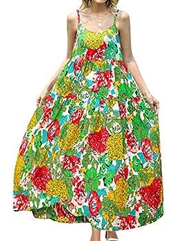 YESNO Women Casual Loose Bohemian Floral Print Dresses Empire Waist Spaghetti Strap Long Maxi Summer Beach Swing Dress 3XL E75 CR10