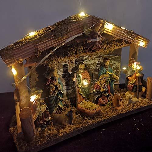Große Krippe, traditionelle Weihnachtskrippe mit LED-Lichtern, Krippenhausfigur Religiöse Verzierung, Weihnachtskrippe 30x10x20 cm