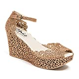 Lady Couture Glitter Jelly Wedge Sandal, Fun Champagne 39