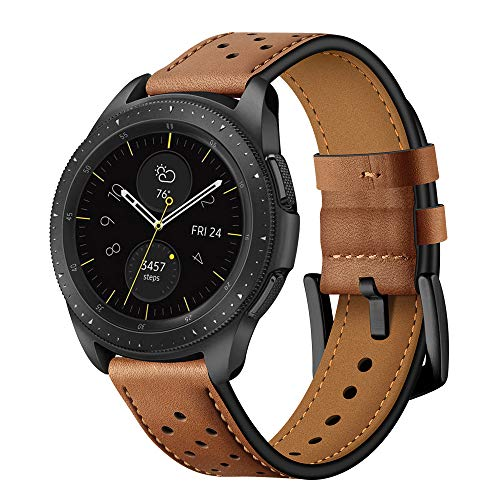BONSTRAP Quick Release Brown Leather Watch Bands 20mm Compatible with Samsung Galaxy Watch 42mm/Samsung Gear Sport/Samsung Gear S2 Mens Womens