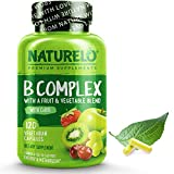 NATURELO B Complex - Whole Food Complex with Vitamin B6, Folate, B12, Biotin - Supplement for Energy and Stress - High Potency - Vegan - Vegetarian - Non GMO - Gluten Free - 120 Capsules