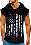 uideazone Men Workout Hooded Tank Tops American Flag Bodybuilding Muscle Sleeveless Gym Training Hoodies Black