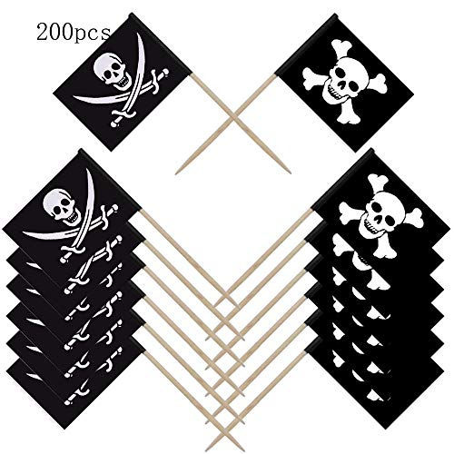 NewZC 100 Stücke Piratenflagge für Cupcake Topper Zahnstocher mit Piratenflagge für Kinder Geburtstag Piraten Party Kuchen Dekoration Lieferungen