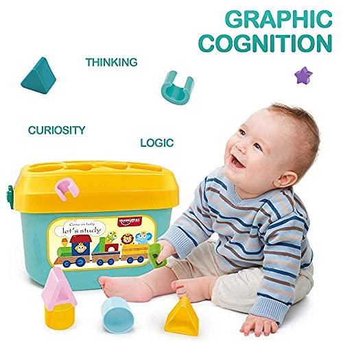 SquareCube Baby and Toddler Plastic First Block Shape, Sorter, Colors, ABCD Shape, Toys for 1 Year Old