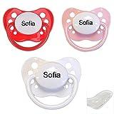 Babysutten Nip Schnuller-mit-Namen, 1 rot + 1 rosa + 1 weiß (3er Pack), Silikon, Anatomisch, Gr. 2.
