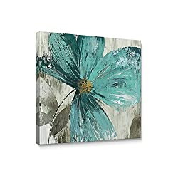 Niwo Art (TM - Teal Flower B, Floral Painting Artwork - Giclee Wall Art for Home Decor,Office or Lobby, Gallery Wrapped, Stretched, Framed Ready to Hang (16x16x3/4)