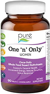 Pure Essence Labs One N Only Multivitamin for Women - Natural One a Day Herbal Supplement with Vitamin D, D3, B12, Biotin - 90 Tablets