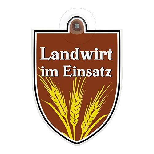 Schild, Autoschild Landwirt im Dienst Einsatz mit Saugnapf, 1,1mm wetterfestes Material 100 x 120 mm groß GREEN