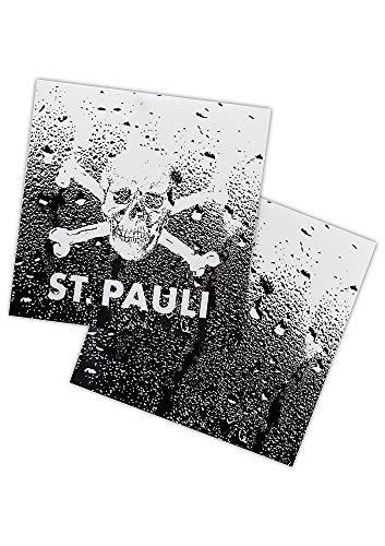 FC St. Pauli Fliesenaufkleber Totenkopf, Aufkleber 2er Set - Plus Aufkleber Fans gegen Rechts