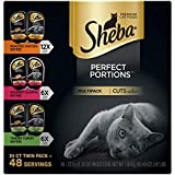 SHEBA PERFECT PORTIONS Wet Cat Food Cuts in Gravy Roasted Chicken, Gourmet Salmon, Tender Turkey Entrées Variety Pack, (24) 2.6 oz. Twin-Pack Trays