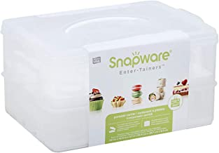 Snapware Snap 'N Stack 2-Layer Cookie, Cake, Cupcake and Brownie Storage Carrier (BPA Free Plastic, Holds Up to a Quarter-...