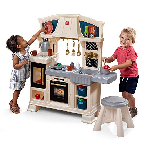 Step2 Classic Chic Play Kitchen | Toddler Kitchen Playset with Accessories & Stool