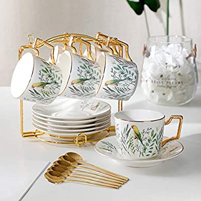 YOLIFE Tea Cups and Saucers Sets, 8 Ounce Ceram...