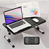 Adjustable Laptop Desk for Bed,Portable Lap Desk, Foldable Bed Table for Laptop with Coolin g Fan,Home Office Couch Desk with Mouse Pad and Book Frame-Black