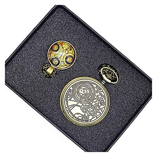 JWGD Taschenuhren, Vintage-Taschenuhr Matt-polnische Herrenquarztasche mit Kasten (Farbe : 007)