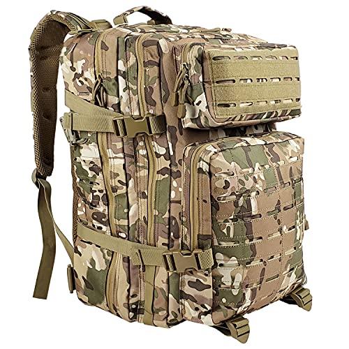 AgoKud Militär Rucksack Herren, Outdoor Armee Wasserdicht Taktischer Bundeswehr Rucksäcke Assault Survival Tactical Backpack für Camping Trekking Wandern Angel Reise [42L Fassungsvermögen]-Armeegrün